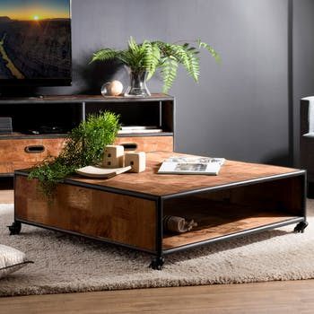 Table basse rectangulaire en bois recycle et metal de style contemporain