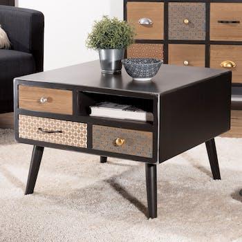 Table basse carree noire patchwork de style exotique
