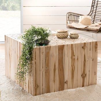 Table basse carree en bois clair de style exotique