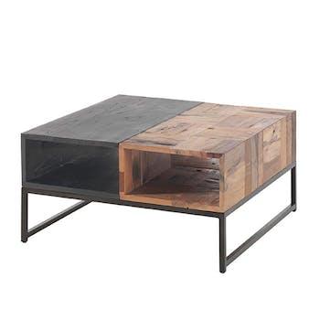 Table basse carrée bois recyclé de bateau métal DUMAI