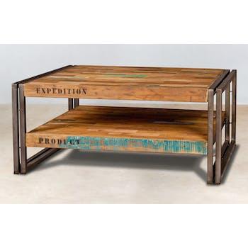 Table basse carree en bois recycle et metal de style industriel
