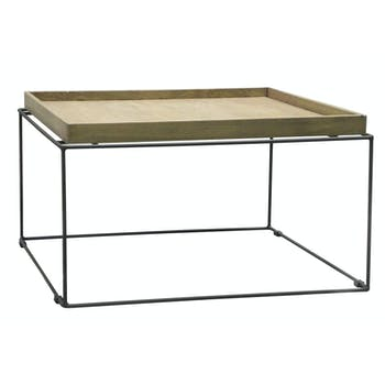 Table basse en bois massif et metal de style contemporain
