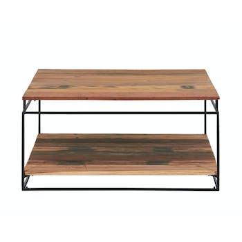 Table basse carree deux plateaux en bois recycle de syle industriel