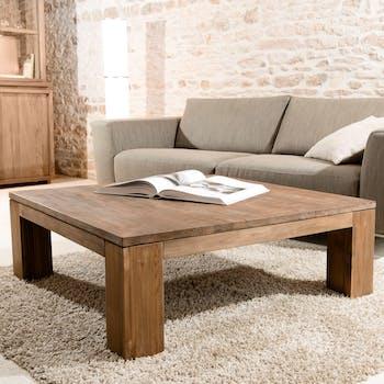 Table basse carree en bois recycle de style contemporain