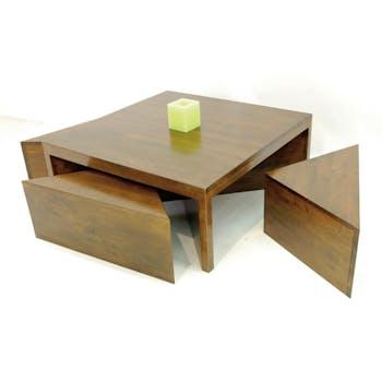 Table basse carrée hévéa + 4 tabourets 110cm OLGA
