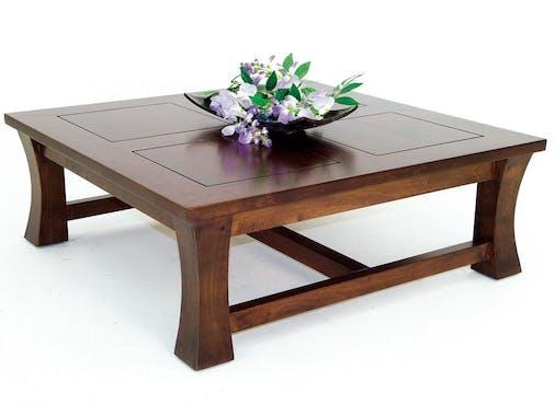 Table basse carrée hévéa 85cm MAORI