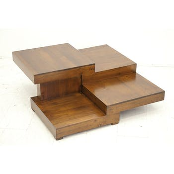 Table basse carrée hévéa destructurée OLGA