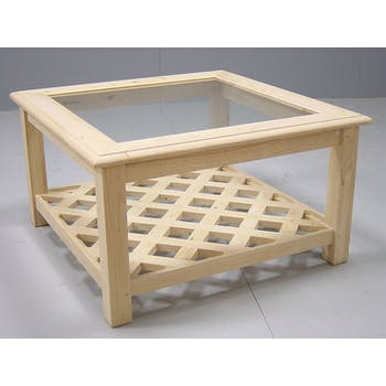 Table basse carrée Hévéa double plateaux - 1 vitré, 1 à croisillons - 80x80x45cm MAORI