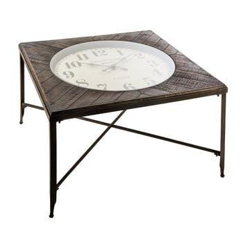 Table basse carrée horloge