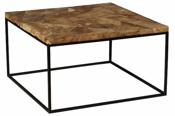 Table basse carrée marqueterie bois de teck recyclé PHOENIX