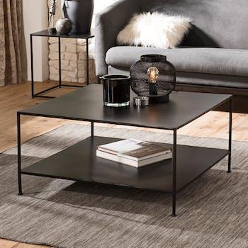 Table basse carree en metal noir deux plateaux de style contemporain