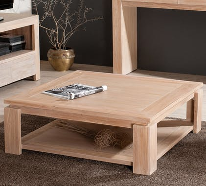 Table basse carree en bois massif double plateau style contemporain
