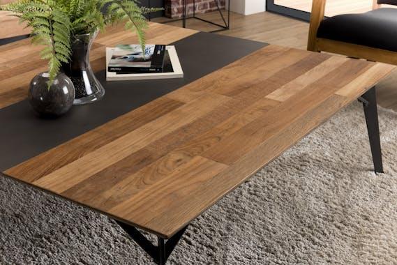 Table basse carrée teck recyclé métal 120x120 PANAMA