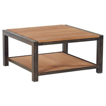 Table basse carree en bois et metal de style industriel