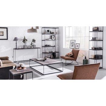 Table basse en bois massif et metal de style contemporain