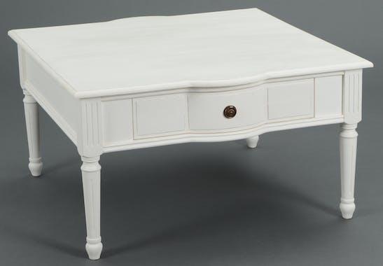 Table basse carree en bois blanc de style romantique