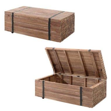 Table basse rectangulaire coffre bois et metal de style exotique