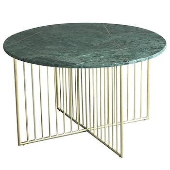Table basse design marbre vert laiton TORANO