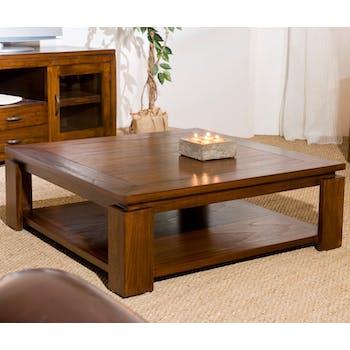 Table basse carree en bois massif double plateau style exotique