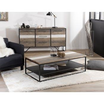 Table basse rectangulaire en bois pieds metal deux plateaux style contemporain