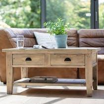 Table basse rectangulaire en bois recycle FSC de style campagne