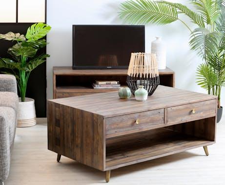 Table basse rectangulaire en bois recycle FSC de style vintage