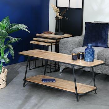 Table basse double plateau en bois de manguier CAIRE