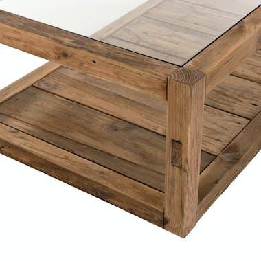 Table basse double plateau en bois de pin recyclé et  verre DENVER
