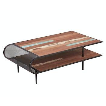 Table basse rectangulaire deux plateaux en bois recycle de syle industriel