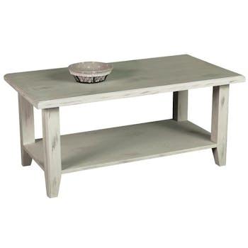 Table basse double plateau pin cérusé blanchi 100x55x45cm RIVAGE
