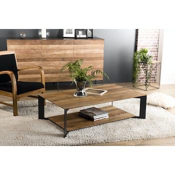 Table basse rectangulaire deux plateaux en bois et metal style contemporain