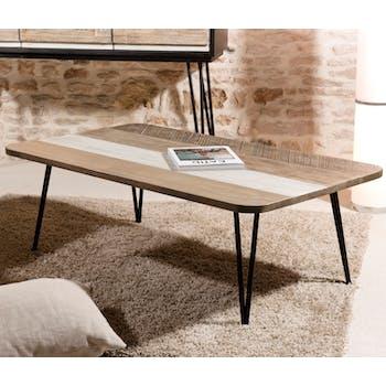 Table basse en Acacia massif bandes teintes variées et pieds métal noir 120x70x41,5cm CADIX