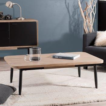 Table rectangulaire en bois massif pieds metal de style contemporain