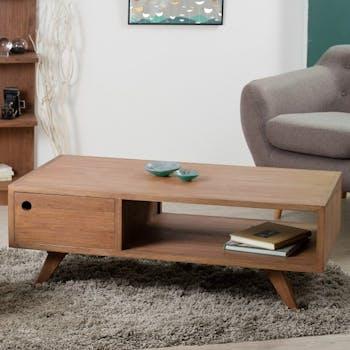 Table basse en bois exotique couleur cannelle 2 tiroirs 110x60x40cm FANNY