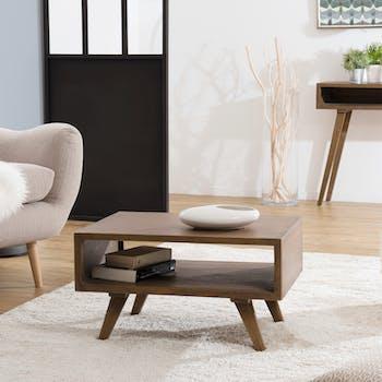Table basse en bois exotique couleur cannelle 70x50x40cm FANNY