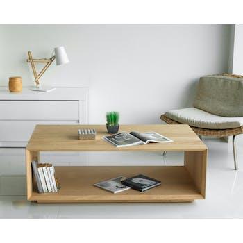 Table basse en bois massif deux plateaux de style contemporain