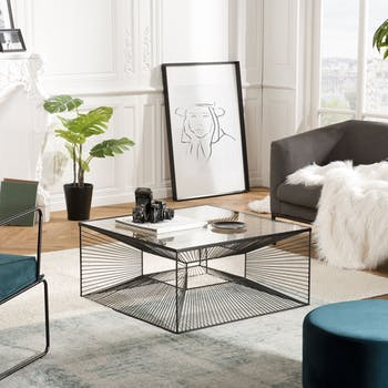Table basse en verre et métal BANGALORE