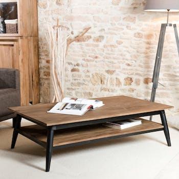 Table basse en bois recycle et metal deux plateaux de style contemporain