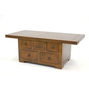 Table basse extensible hévéa massif 110cm MAORI