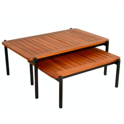 Table basse gigogne bois d'eucalyptus intérieur/extérieur (lot de 2)