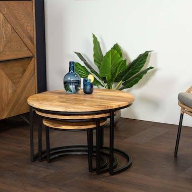 Table basse gigogne en bois de manguier (3 pièces)