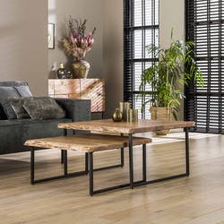 Table basse gigogne en bois massif bordures naturelles (lot de 2) MELBOURNE