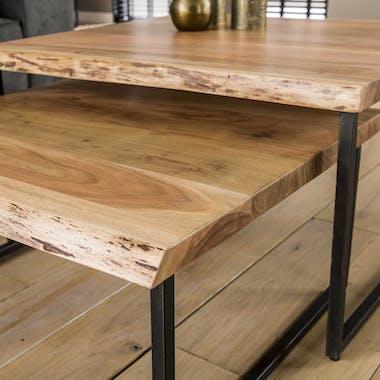 Table basse gigogne en bois massif bordures naturelles (lot de 2) MELBOURNE