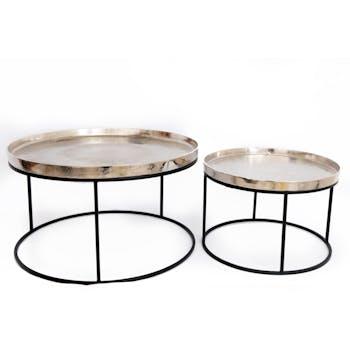 Table basse gigogne métal argenté (lot de 2)