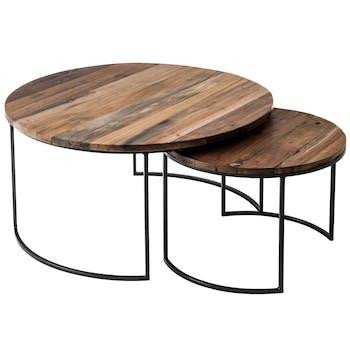 Table basse gigogne ronde bois recyclé de bateau métal (lot de 2) AUCKLAND