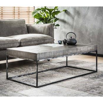 Table basse rectangulaire en bois gris et metal vieilli de style contemporain