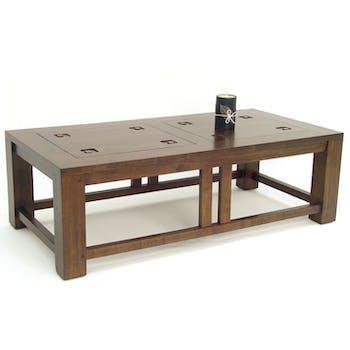 Table basse hévéa 120x60cm TESSA