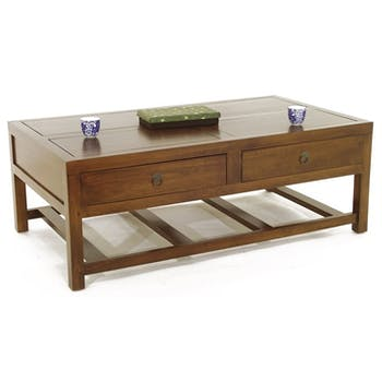 Table basse Hévéa 4 tiroirs 127x71x46cm MAORI