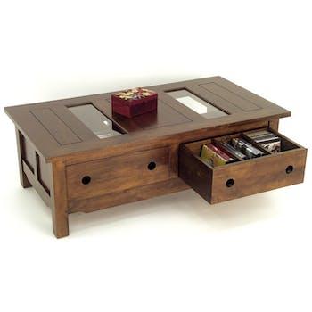 Table basse Hévéa 4 tiroirs, plateau bois avec 2 parties en verre 120x64x40cm TRADITION
