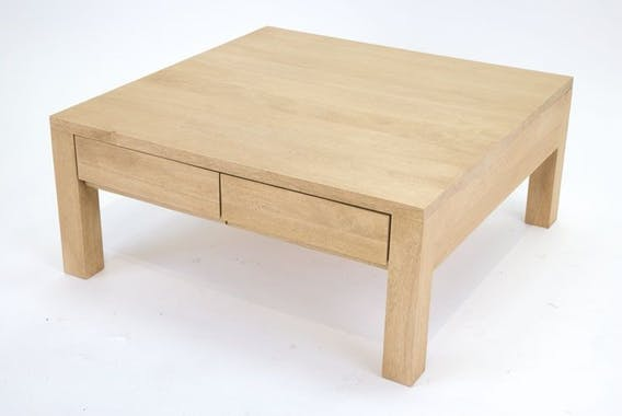Table basse hévéa 80X80cm OLGA
